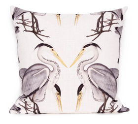 Herons on white cushion cover