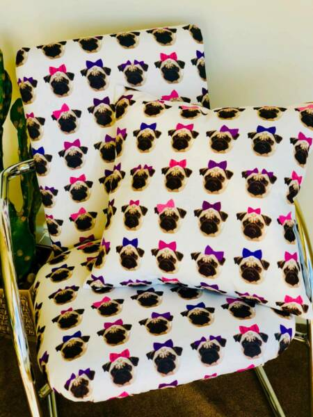 Pretty Pugs on chrome chair