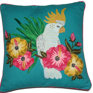 Embroidered cockatoo on emerald canvas cushion