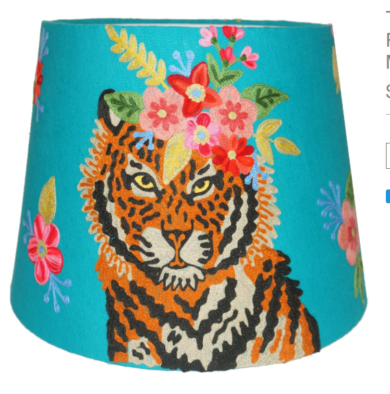Tapered Velvet lampshade with Tiger Floral Garland