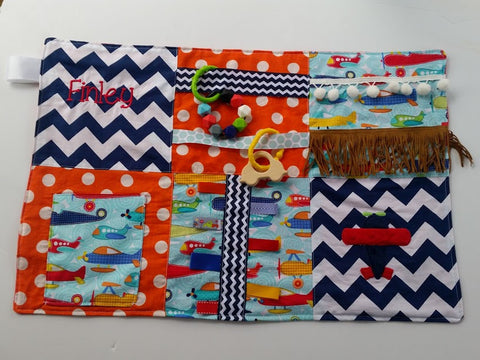 Airplane Sensory Quilt Lap Blanket