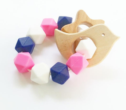 Navy and Pink Teether with Bird and Star Wooden Teethers
