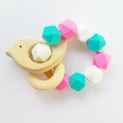 Turquoise and Pink Bird Teether