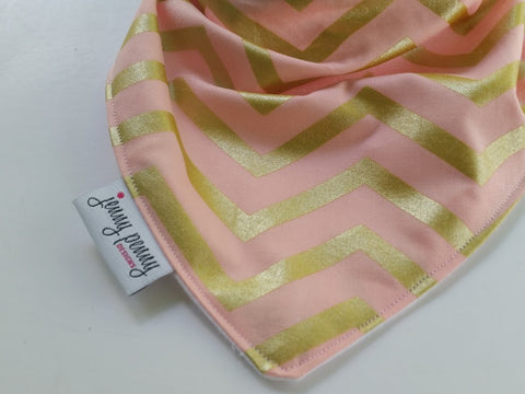 Blush Gold Chevron Bandana Bib