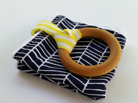 Navy Herringbone Teether Lovey