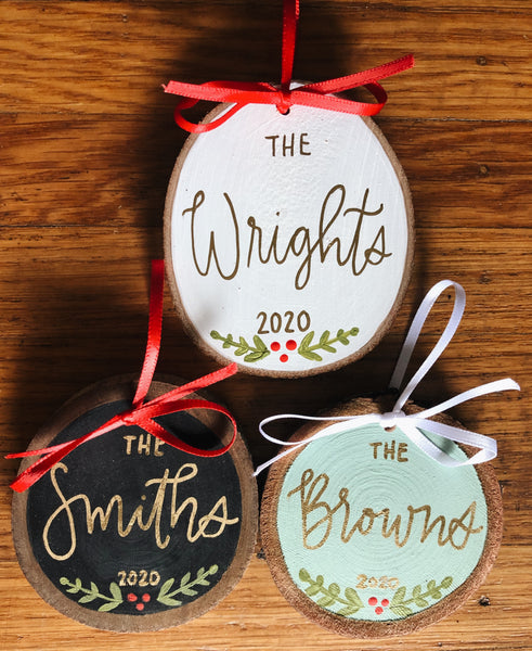 Custom Name // Hand Painted Christmas Ornament