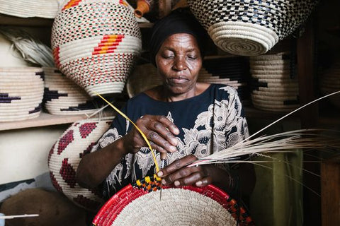 artisan woman basket weaving ethical fair trade