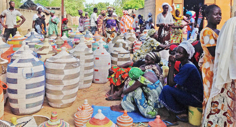 Artisans make baskets in Senegal