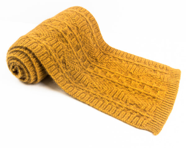 Cable Knit Possum Merino Scarf in Gold