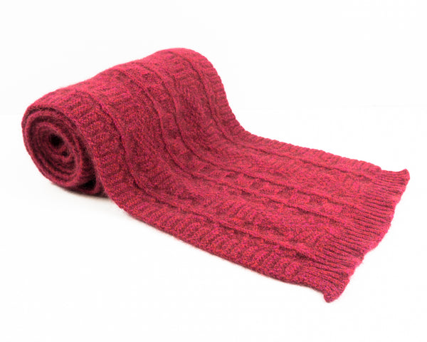 Cable Knit Possum Merino Scarf in Raspberry