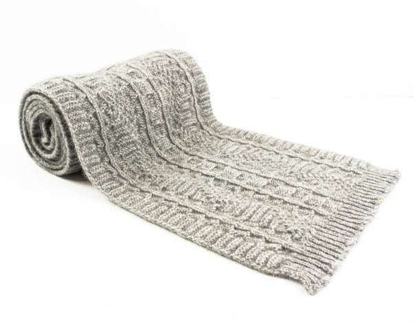 Cable Knit Possum Merino Scarf in Silver