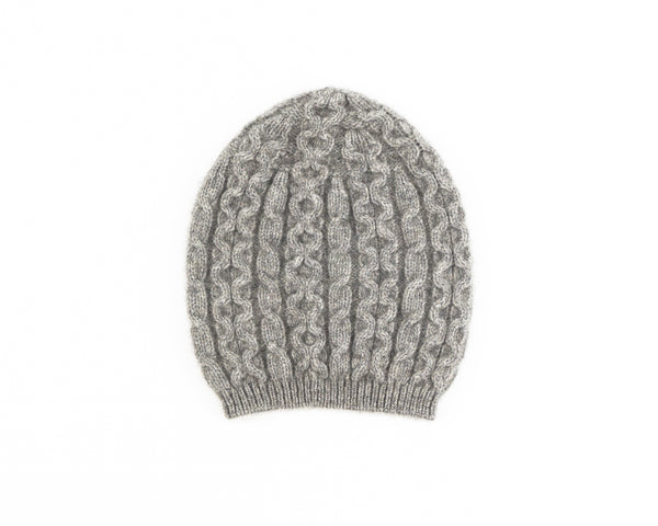 Possum Merino Cable Knit Hat in Silver