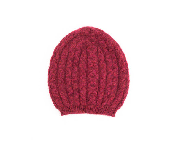 Possum Merino Cable Knit Hat in Raspberry
