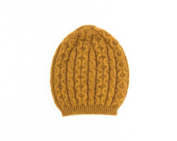 Possum Merino Cable Knit Hat in Gold