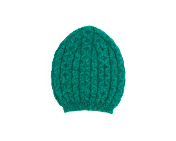 Possum Merino Cable Knit Hat in Emerald