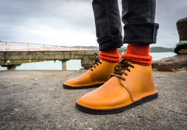 'PUMPKIN' Possum Merino Socks with the 'Gentleman' Lace up boot in TAN