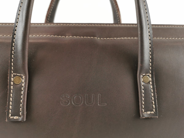 leather laptop satchel - - NZ handmade - - Soul
