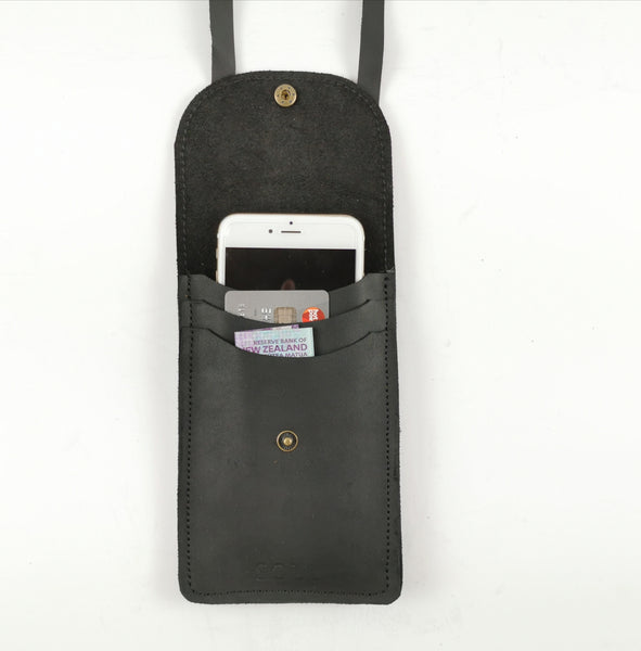 Leather cell phone holder- -NZ made- -Soul