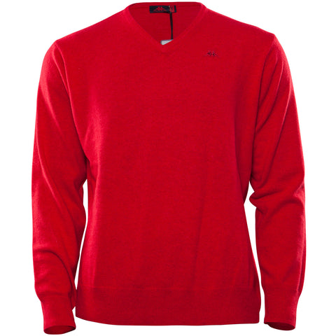 RDK Lambswool V-Neck Knit - Claret Red