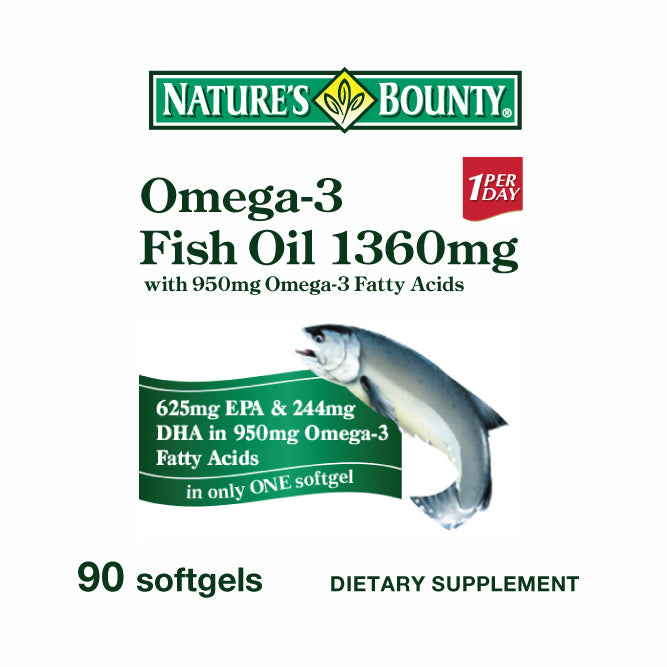 [BUY 1 FREE 1] Nature's Bounty Omega-3 Fish Oil 1360mg (90 Softgels)