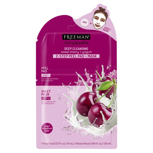 Freeman Beauty DEEP CLEANSING Sweet Cherry + Yogurt 2-STEP PEEL PAD + MASK
