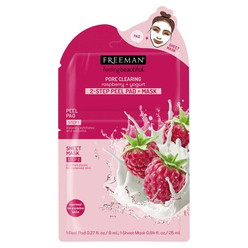 Freeman Beauty PORE CLEARING Raspberry + Yogurt 2-STEP PEEL PAD + MASK