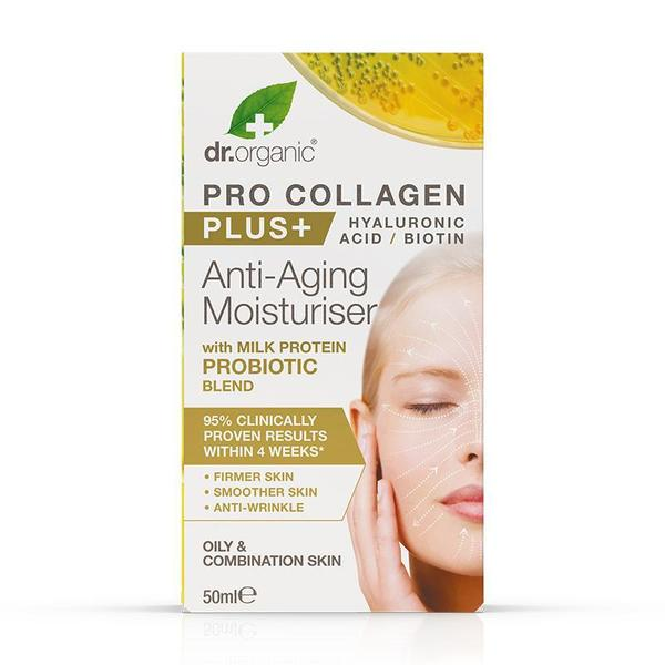 dr. Organic Pro Collagen Anti-Aging Moisturiser with Milk Protein Probiotic Blend 50ml [Expiry Date: 07/21]