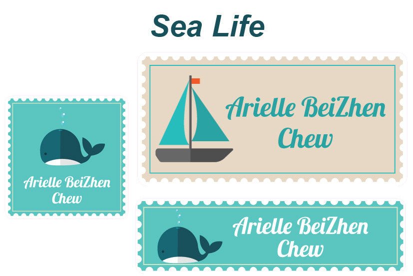 Essential Name Labels Pack - Sea Life