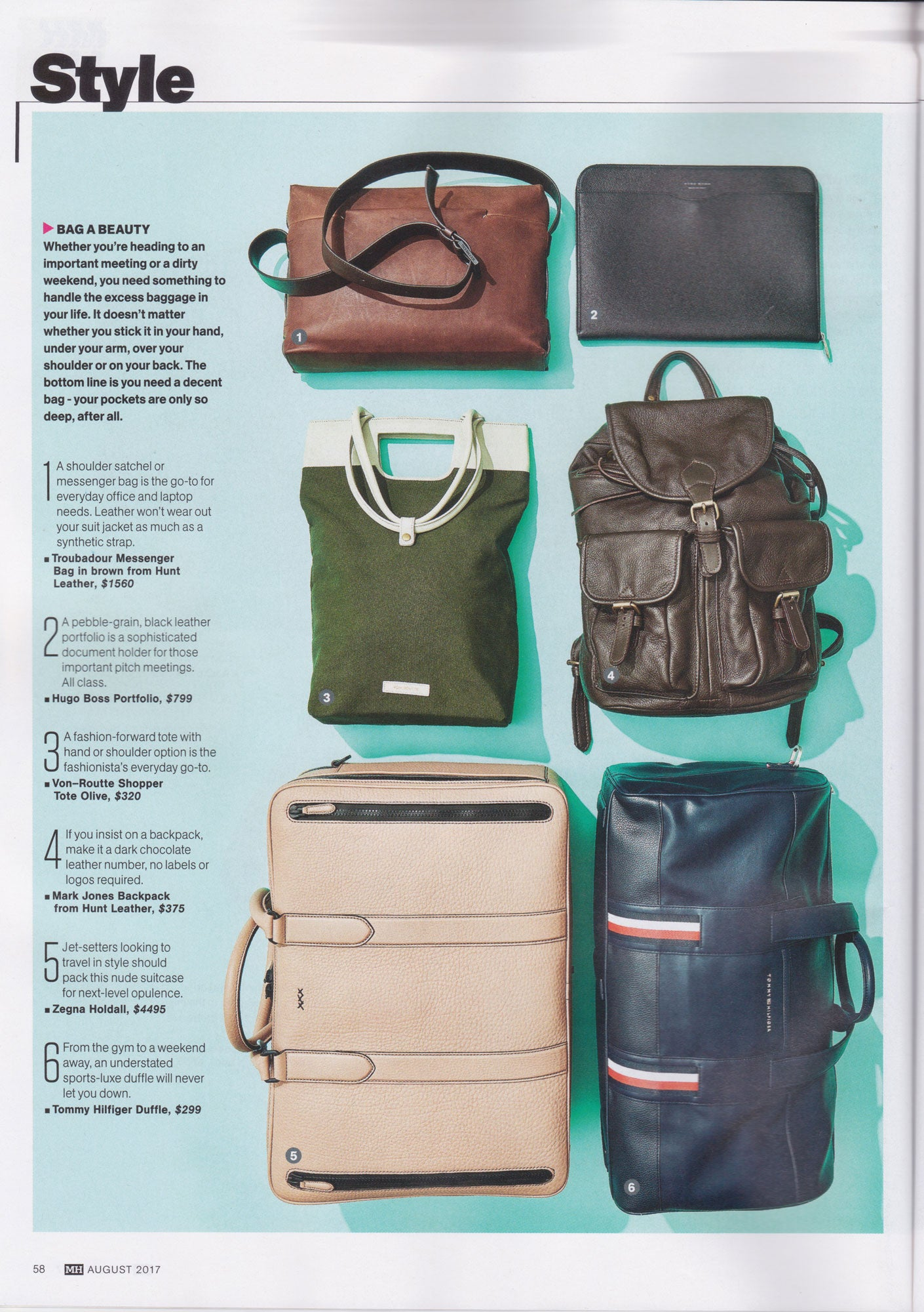 Ystad Shopper Tote Olive feature in Men's Health August 2017 issue