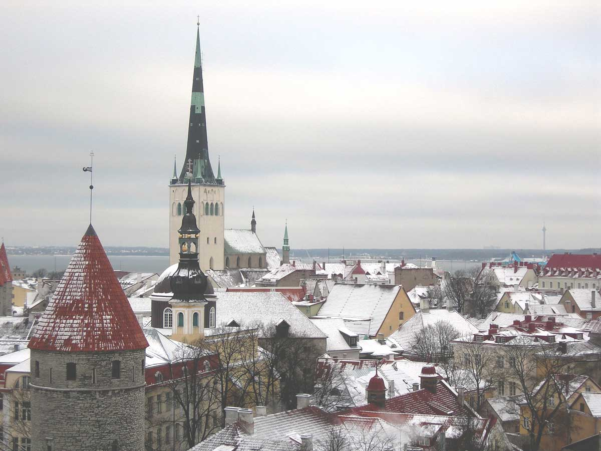 Tallin city view during winter