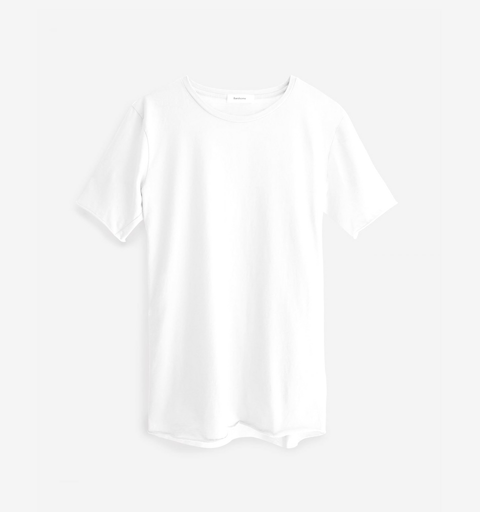 Crew Neck Raw Tee White