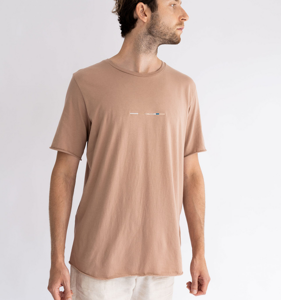 Crew Neck Raw Tee Linea Brick