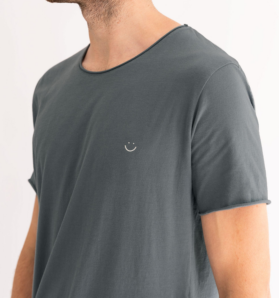 Original Raw Smiley Tee Charcoal Blue