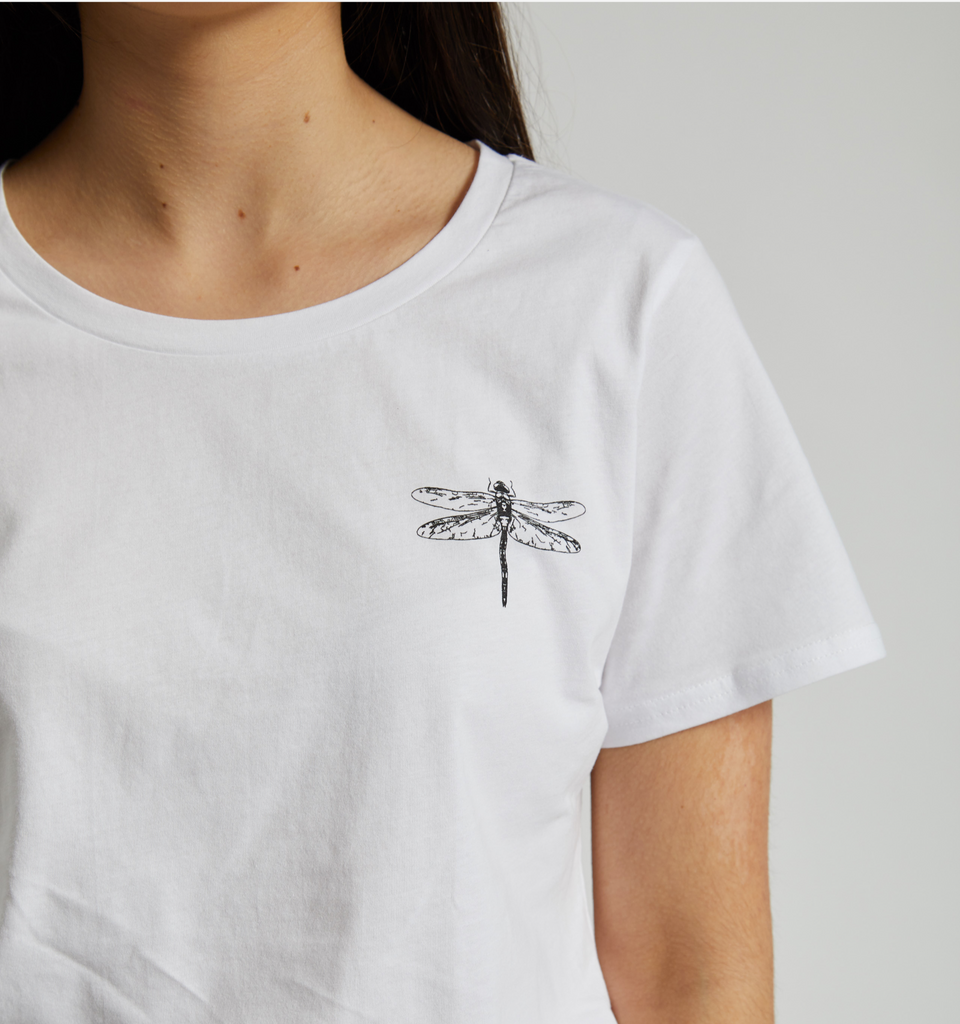 Dragonfly Tee White - Von-Röutte Leather Sneakers