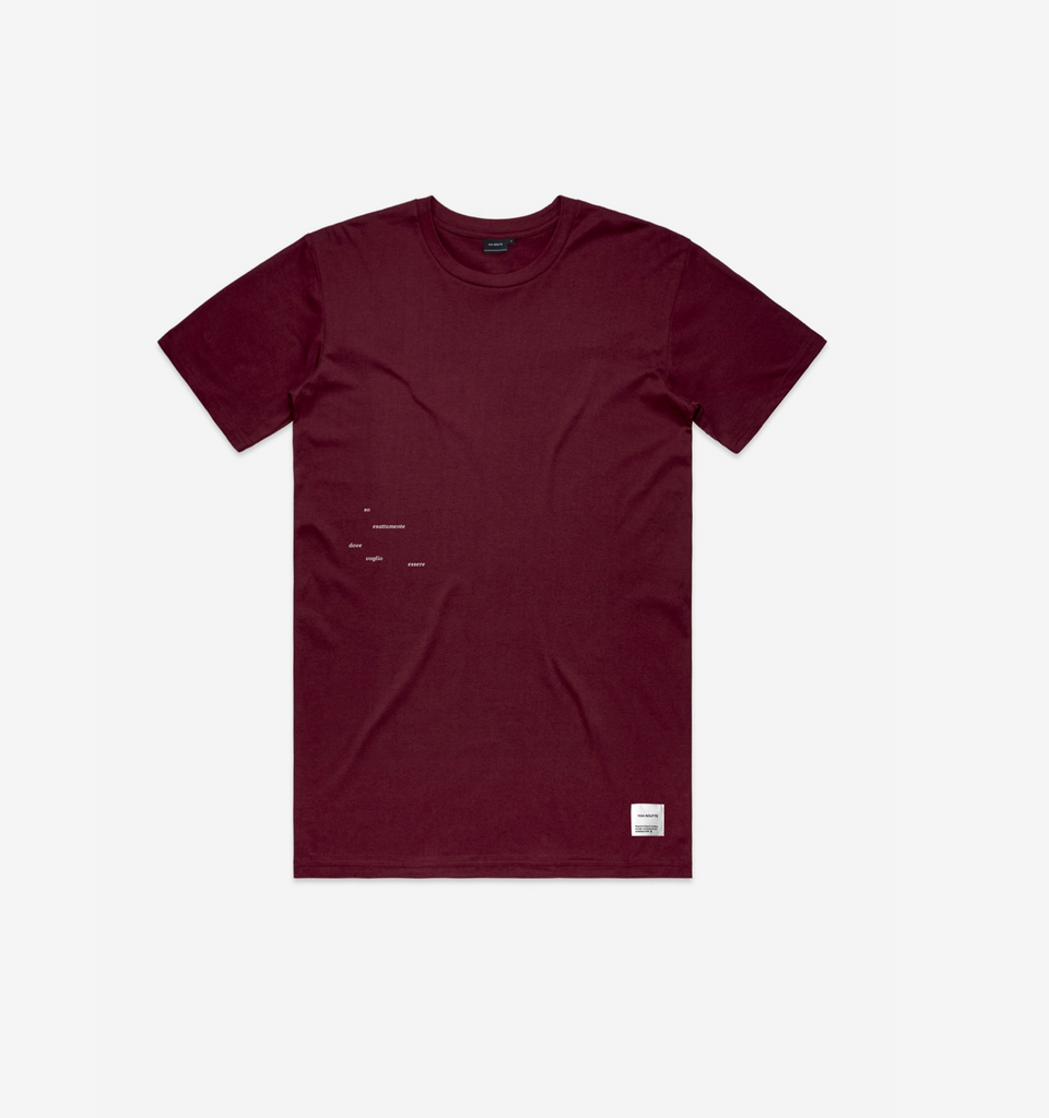 Italian Route Tee Burgundy - Von-Röutte Leather Sneakers
