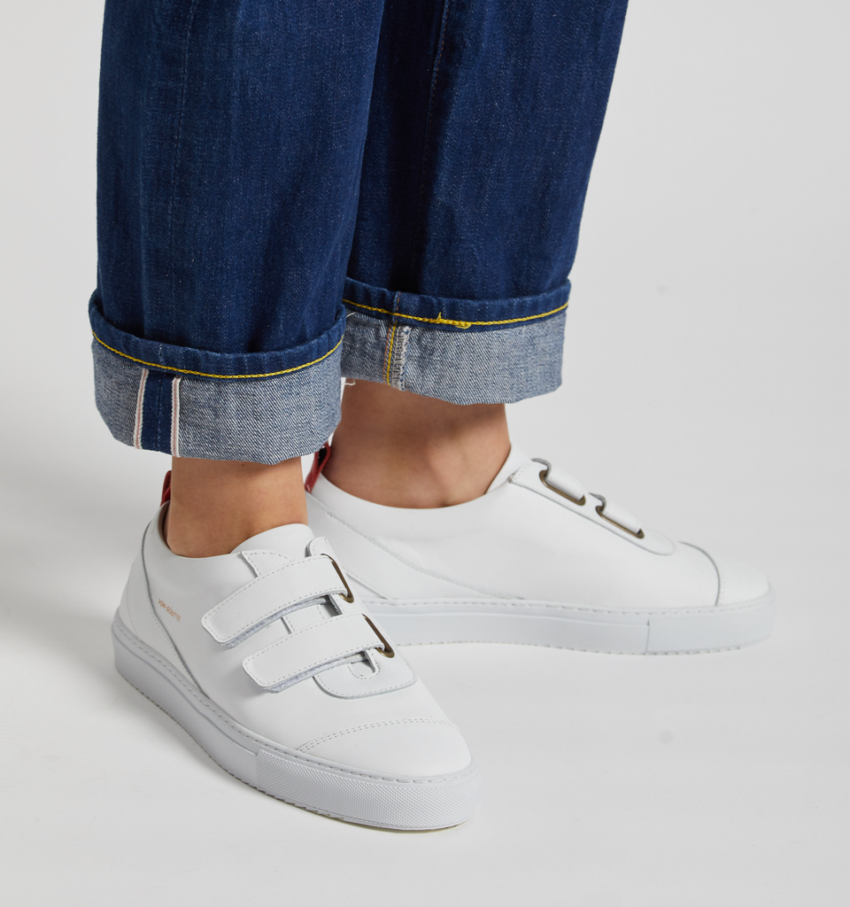 Kiso Velcro Shoes White - Von-Röutte Leather Sneakers