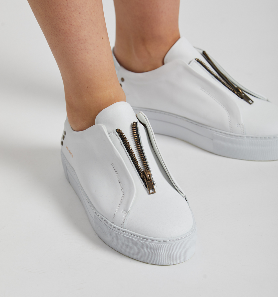 Sauipe Platform Zip Shoes White Silver