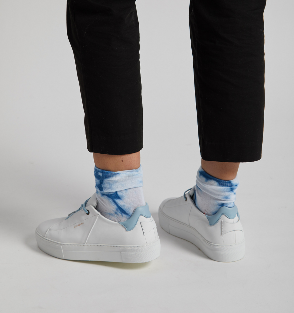 Siena Platform Sneaker White Sky Blue - Von-Röutte Leather Sneakers