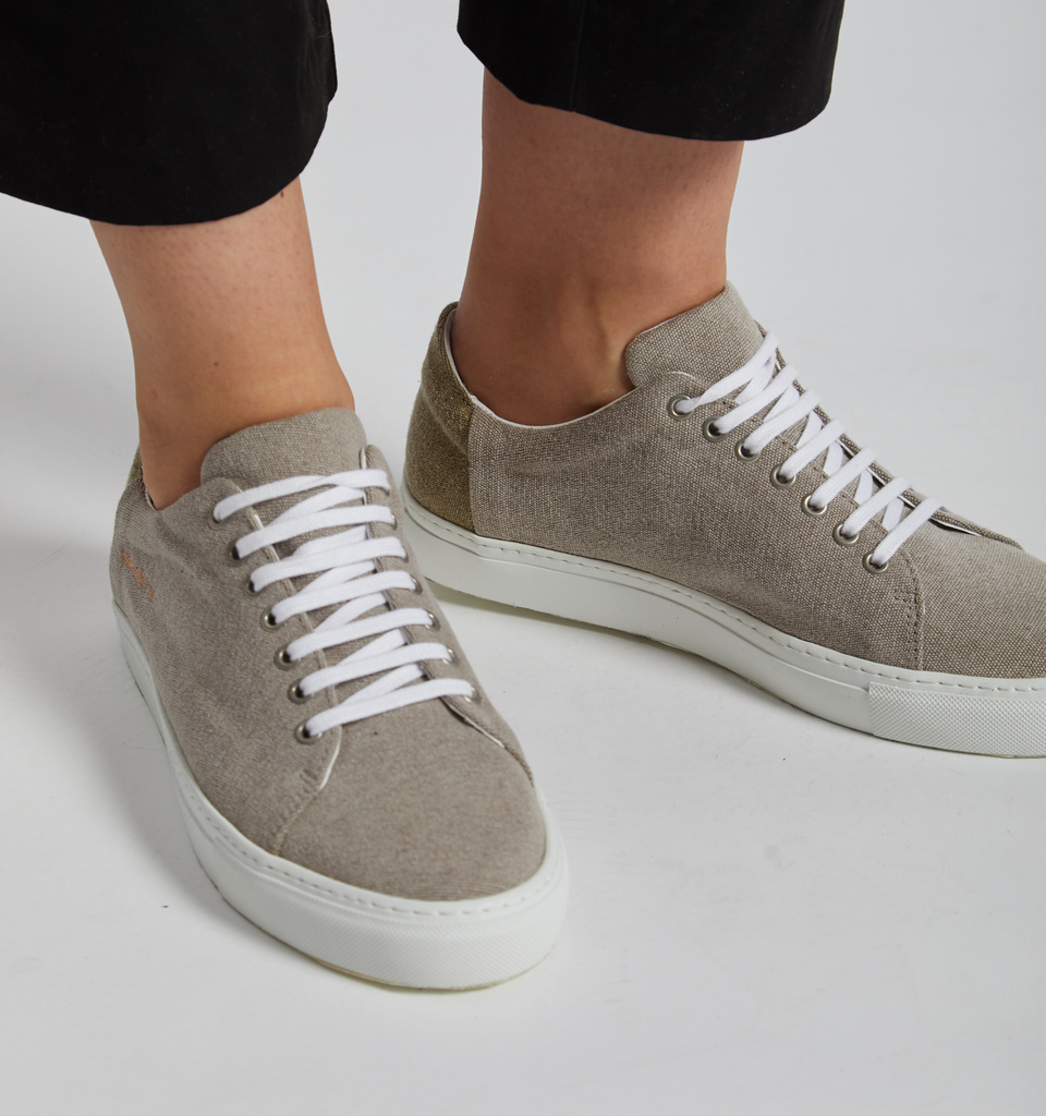 Lyon Canvas Sneaker Stone - Von-Röutte Leather Sneakers