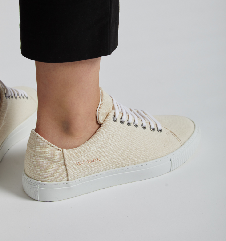 Lyon Canvas Sneaker Cream - Von-Röutte Leather Sneakers