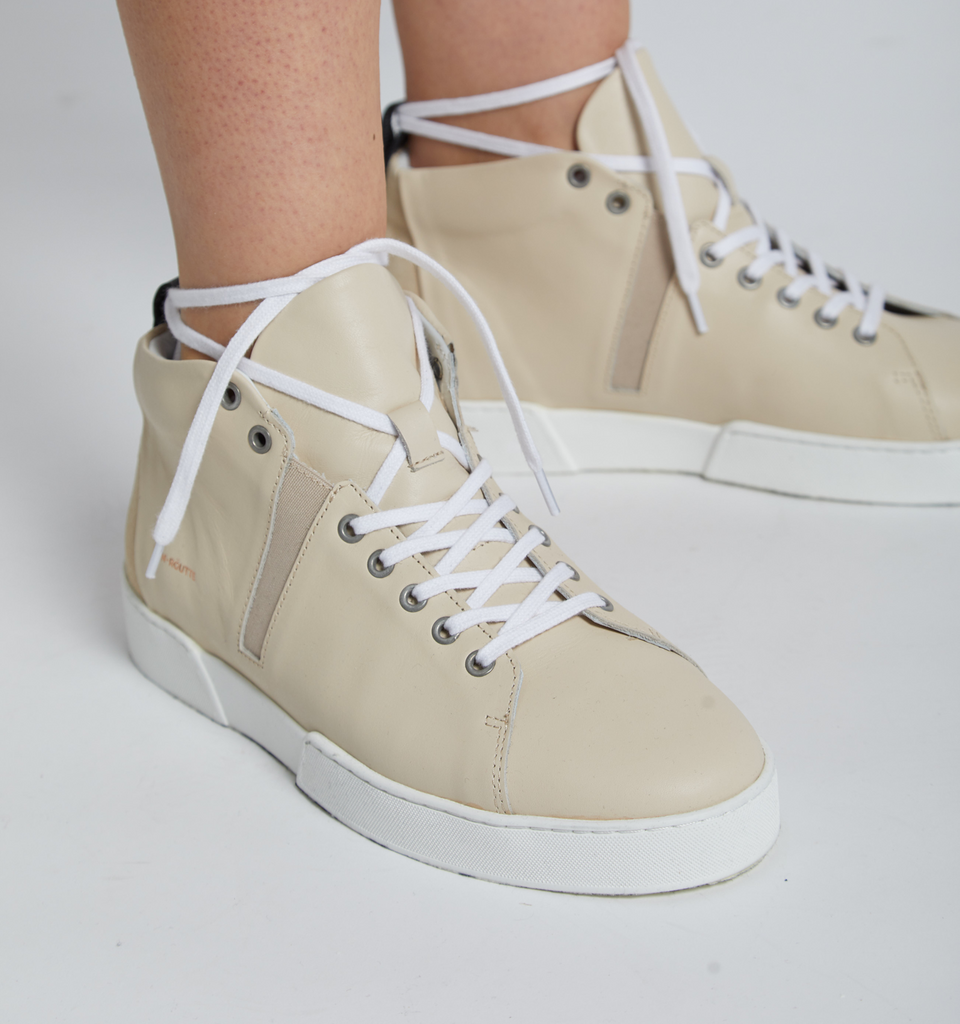 Milford High Top Sneakers Cream - Von-Röutte Leather Sneakers
