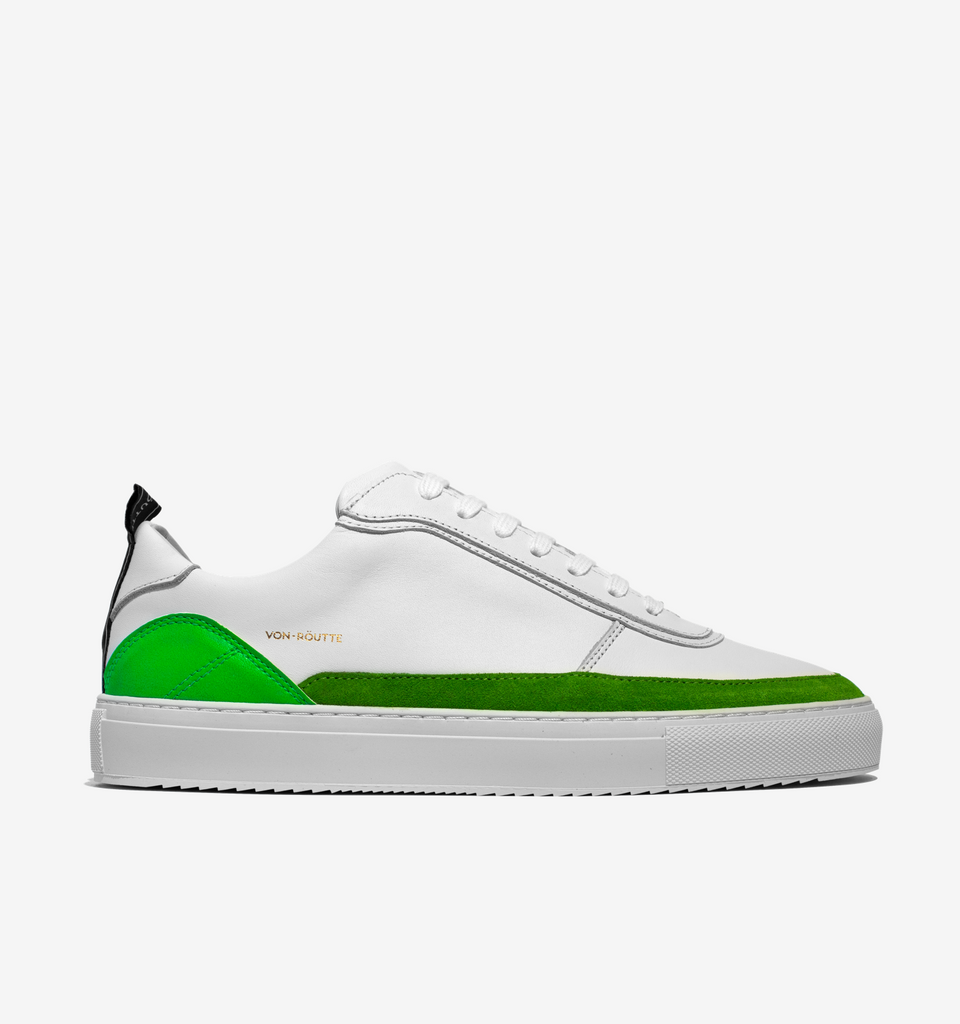 Munich Sneaker White Neon Green - Von-Röutte Leather Sneakers