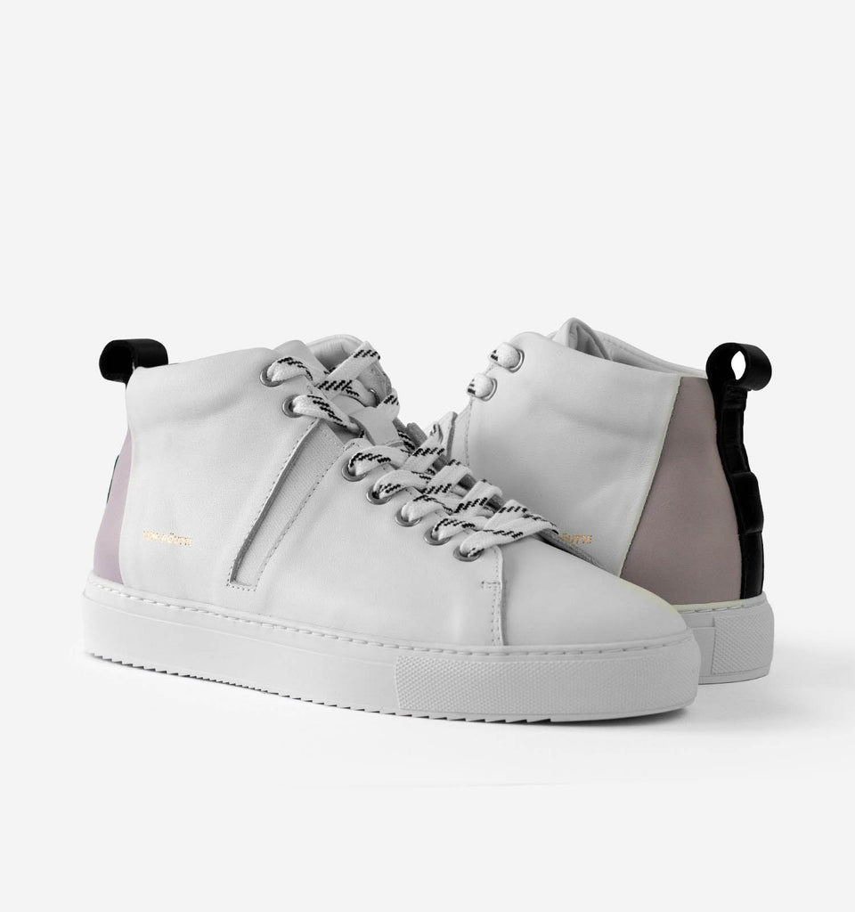 Milford High Top Shoes White Lavender - Von-Röutte Leather Sneakers
