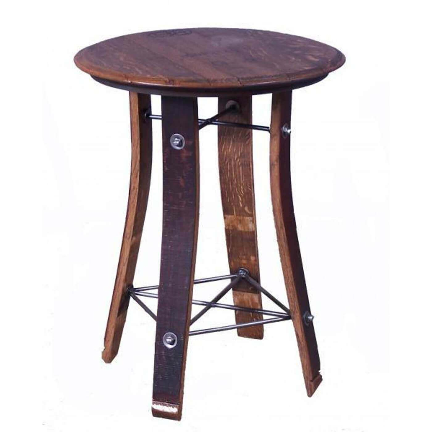 2-Day Designs Round Wine Barrel Top & Stave End Table