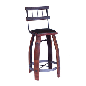 "2-DAY DESIGNS 28"" WROUGHT IRON BACK STOOL WITH CHOCOLATE LEATHER SEAT"
