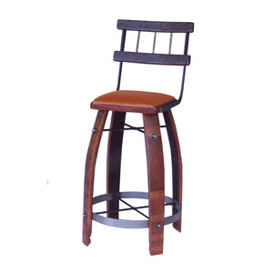 "2-DAY DESIGNS 28"" WROUGHT IRON BACK STOOL WITH TAN LEATHER SEAT"