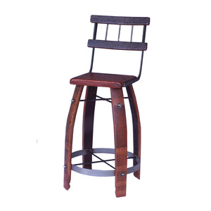 "2-DAY DESIGNS 24"" WROUGHT IRON BACK STOOL WITH WOOD SEAT"