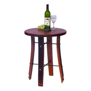 2-Day Designs Round Wine Barrel Stave End Table