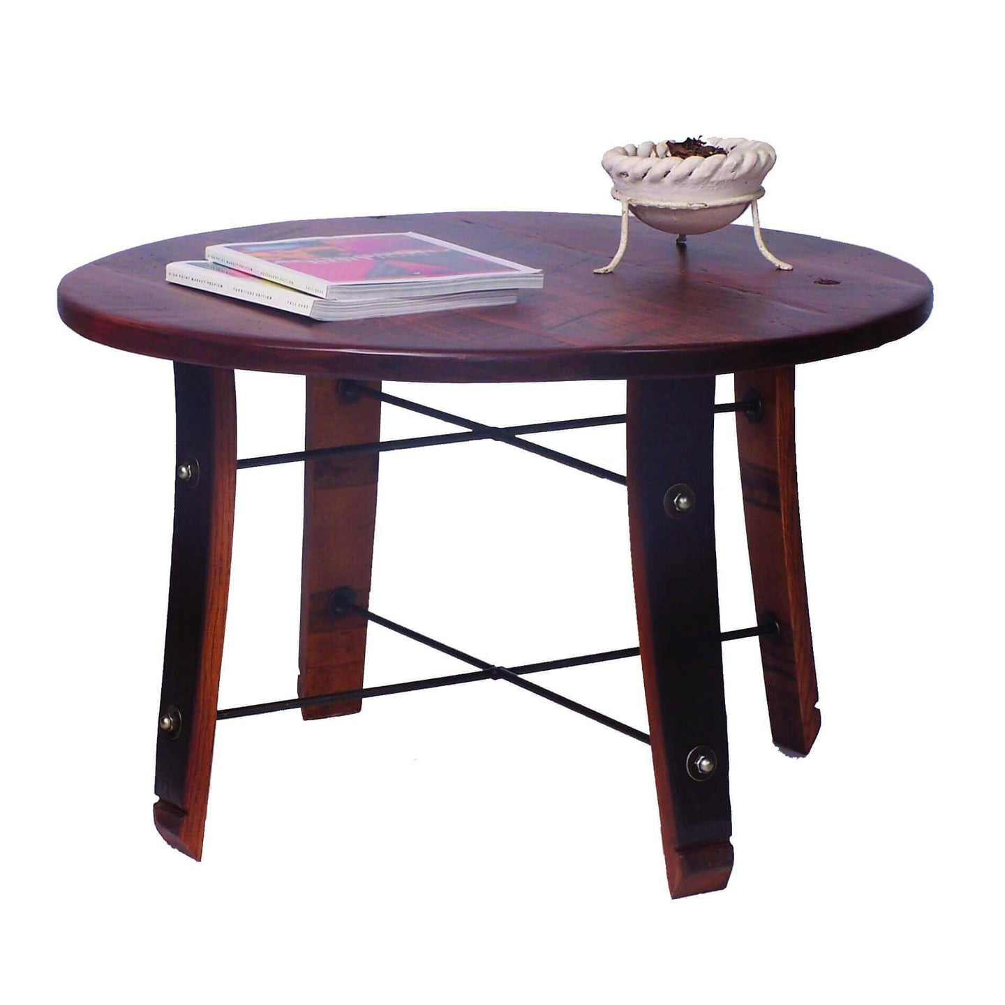 2-Day Designs Round Wine Barrel Stave Coffee Table