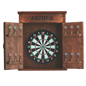 2-DAY DESIGNS PERSONALIZED MISSION DART BOARD CABINET OPEN